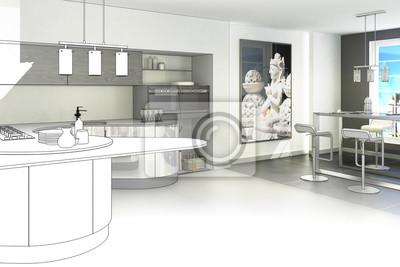Konzeptionelle Kuche Zeichnen Fototapete Fototapeten