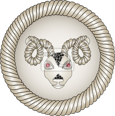 Kopf des Widders. Tierkreiszeichen (Widder). Augen - rote Rubine.