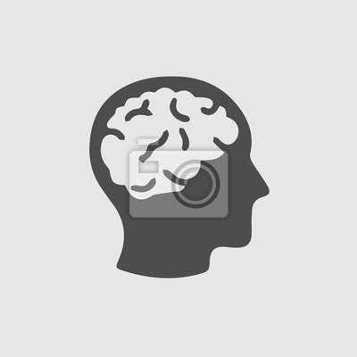 Fototapete Kopf mit Hirn-Vektor-Symbol. Einfache isolierte Silhouette-Symbol.