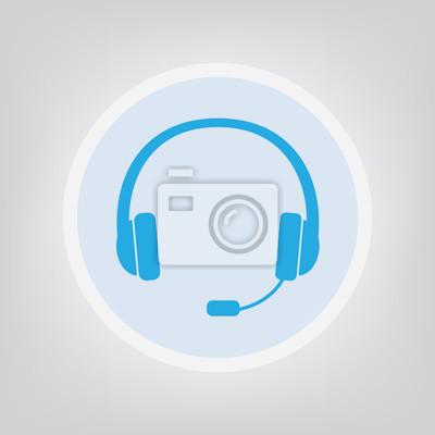 Kopfhörer mit mikrofon symbol - vektor-illustration fototapete ...