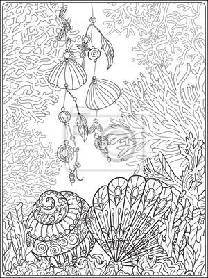 Fototapete Korallenriffsammlung Anti Stress Färbung Buch Für Erwachsene