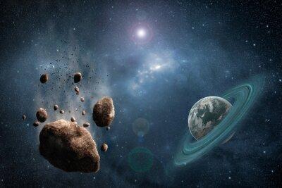 Fototapete Kosmos-Szene mit Asteroid, Planeten und Nebel im Raum