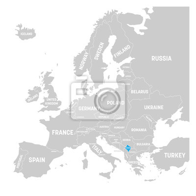 Kosovo Karte Europa.Fototapete Kosovo Markiert Durch Blaue In Der Grauen Politischen Karte Von