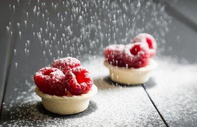 Fototapete Köstliche Dessert Torten mit frischen Himbeeren
