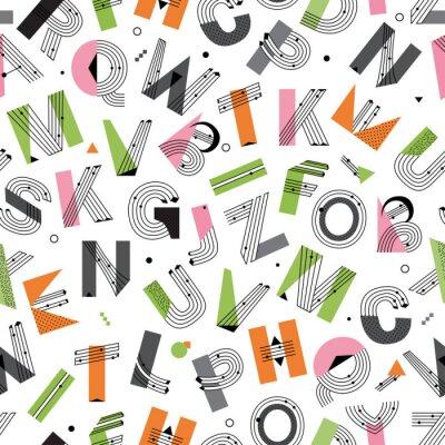 Kreative geometrische Alphabet nahtlose Muster. Postmoderne Designschrift im Memphis-Stil. Vektor