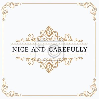 Fototapete Kreative Kartenschablone des Monogramms mit schönen Schnörkelverzierungselementen. Elegantes Design für Corporate Identity, Logo, Einladung. Design von Hintergrundprodukten.