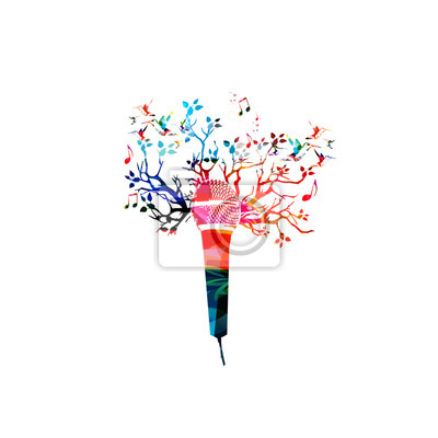 Kreative musik-stil vorlage vektor-illustration, bunte mikrofon ...