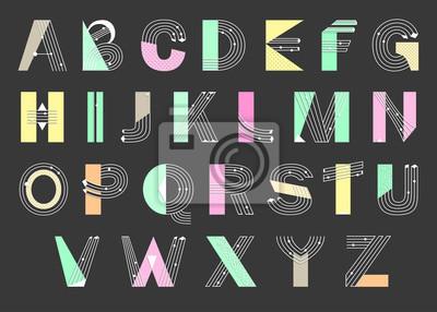 Kreatives geometrisches Alphabet. Postmoderne Designschrift im Memphis-Stil. Vektor