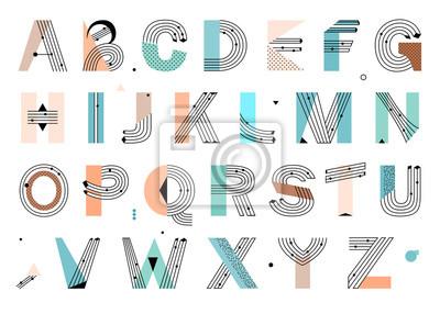 Fototapete Kreatives geometrisches Alphabet. Postmoderne Designschrift im Memphis-Stil. Vektor