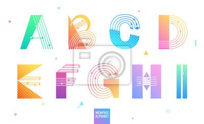 Kreatives geometrisches Alphabet stellte 1 von 3 ein. Postmodernist Designschriftbild in Memphis-Art. Dekorative Schrift mit Farbverlauf. Vektor