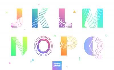 Kreatives geometrisches Alphabet stellte 2 von 3. Postmodernist-Designschrift in Memphis-Art ein. Dekorative Schrift mit Farbverlauf. Vektor