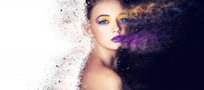 Fototapete Kreatives Make-up der Porträtmode-modellfrau, Studiofoto