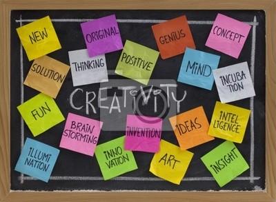 Kreativität Wort Wolke auf Tafel