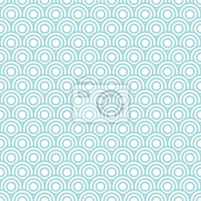 Fototapete Kreis-Muster Retro Nahtlose Türkis