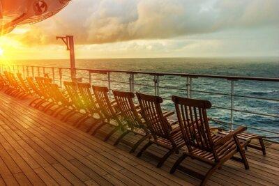 Fototapete Kreuzfahrtschiff-Strandstühle