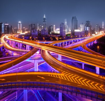 Fototapete Kreuzung in Shanghai