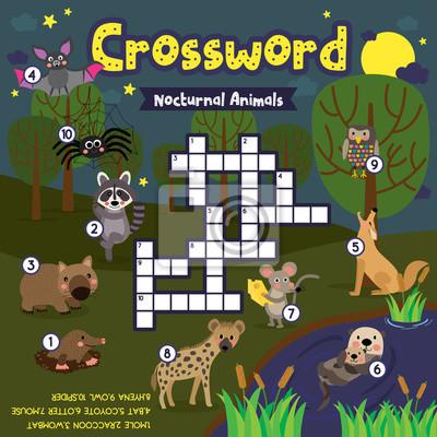 Kreuzworträtsel puzzle-spiel von nächtlichen tieren für vorschule ...