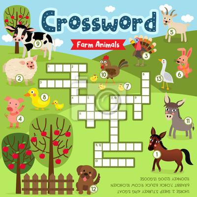Kreuzworträtsel puzzle-spiel von nutztieren für vorschule kinder ...