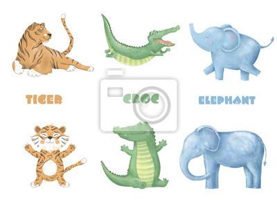 Fototapete Krokodil Tiger Elefant Digitale Clipart Niedlich Tier Und Blumen