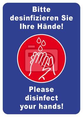 bitte hände desinfizieren