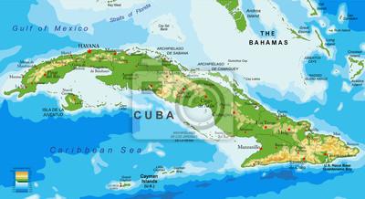 Karte Kuba.Fototapete Kuba Erleichterung Karte