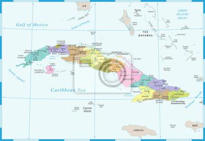 Karte Kuba.Fototapete Kuba Karte Ausführliche Vektor Illustration