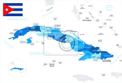 Karte Kuba.Fototapete Kuba Karte Und Flagge Detaillierte Vektor Illustration