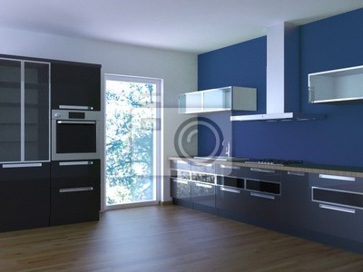 Küche Blau | Kuche 3d Rendering Schwarz Blau Fototapete Fototapeten Toilette