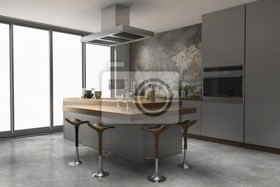 Küche edelstahl edelstahloptik naturstein holz modern fototapete ...