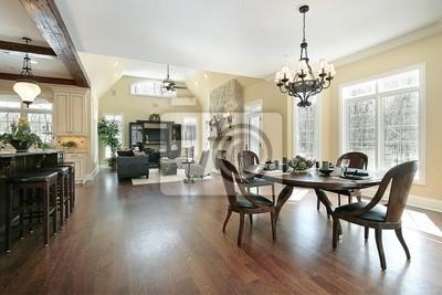 Küche essbereich und familienzimmer fototapete • fototapeten ...