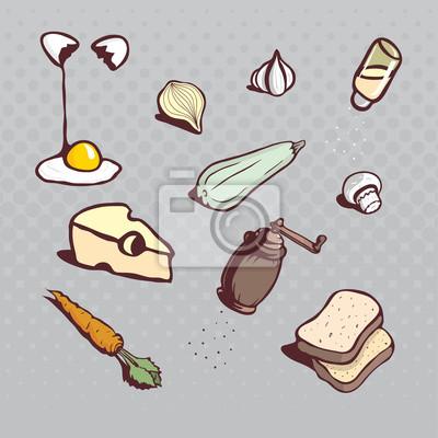 Küche-Icons. Dish Zutaten. Hand gezeichnete karikierte illustrati
