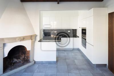 Küche Im Offenen Raum In Der Nähe Von Wohnzimmer Mit Kamin
