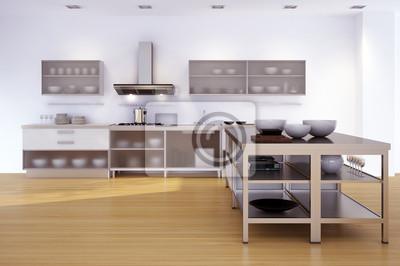 Kuche In Einfamilienhaus Minimalistische Kuche Fototapete