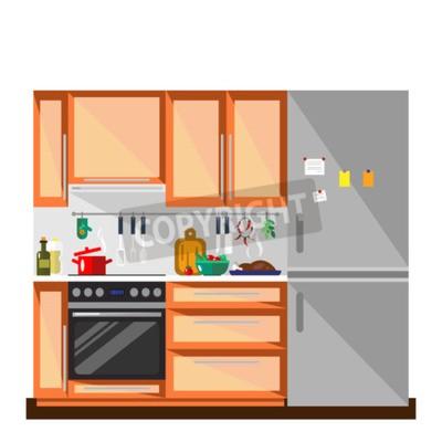 Kuche In Flachen Stil Illustration Bunte Kuche Und Mobelinnenraum