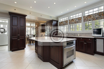 Küche in luxus-haus mit mittelinsel fototapete • fototapeten ...