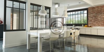 Küche loft küche fototapete • fototapeten appartment, Innenräume ...