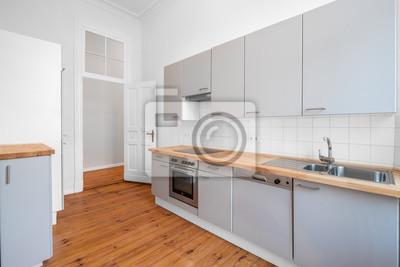 Fototapete: Küche mit einbauküche und holzboden,