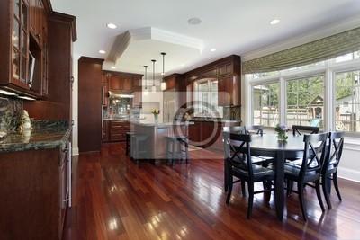 Küche mit kirschholz-mobiliar fototapete • fototapeten Innenräume ...