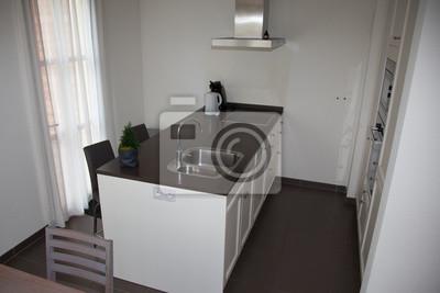 Fototapete: Küche moderner stil. kombinierte küche und esszimmer mit  schwarz-weißen