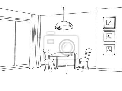 Fototapete Küche Zimmer Innenraum Grafische Kunst Schwarz Weiß Skizze  Illustration Vektor