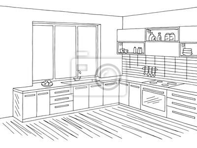 Fototapete Küche Zimmer Interieur Grafik Schwarz Weiß Skizze Illustration  Vektor