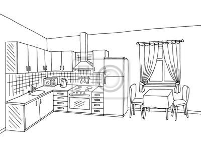Fototapete Küche Zimmer Interieur Schwarz Weiß Grafik Illustration Skizze  Vektor