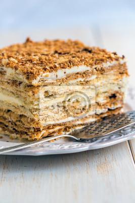 Kuchen Aus Blatterteig Mit Vanillepudding Fototapete Fototapeten