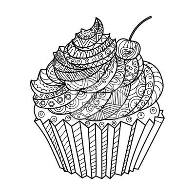 Kuchen Färbung Buch Vektor-Illustration