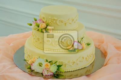 Fototapete Kuchen Hochzeitstorte Mit Blumen Verziert