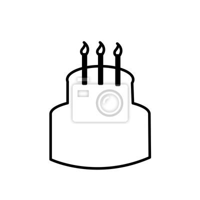 Kuchen Umriss Clipart Auf Weißem Hintergrund Mit Brennenden