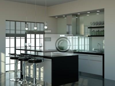 Küchendesign - küche schwarz weiss fototapete • fototapeten ...