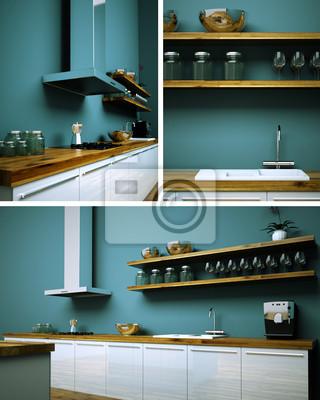 Fototapete: Küchendesign Küche Türkis