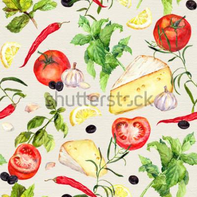 Fototapete Küchenmuster mit Käse, Tomaten, Knoblauch, Gewürzen und Kräutern. Kochender Hintergrund wiederholen. Aquarell