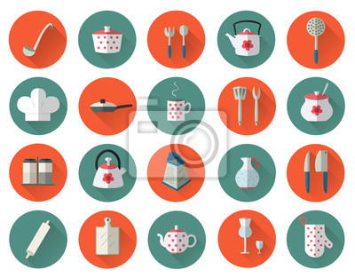 Küchenutensilien und Kochgeschirr flache Symbole gesetzt